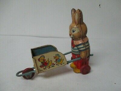 Used, Vintage CHEIN Tin Litho EASTER Pushes Wheelbarrow for sale  Reisterstown