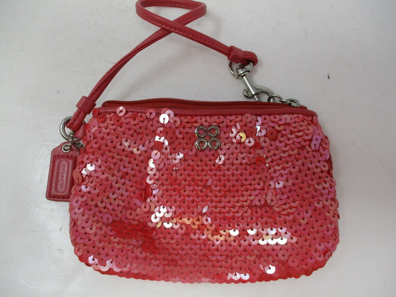 Coach Pink Sequined Mini Wristlet Purse