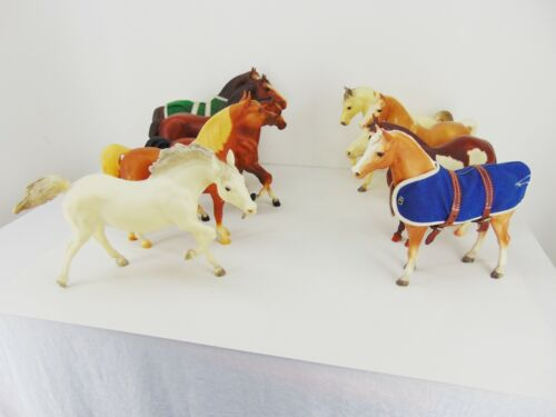 Vintage Lot of 9 BREYER HORSES Bronco Traditional 1:9 Scale