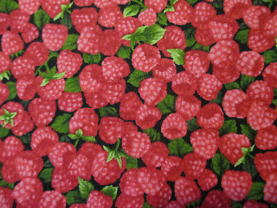 RASPBERRY REALISTIC RASPBERRIES WITH LEAVES FRUIT FOOD COTTON FABRIC FQ](Crafts With Leaves)
