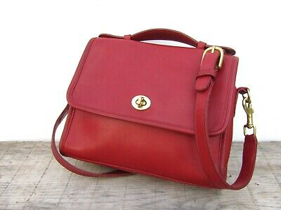 Vintage Coach Bag Court Bag in Red Leather Crossbody