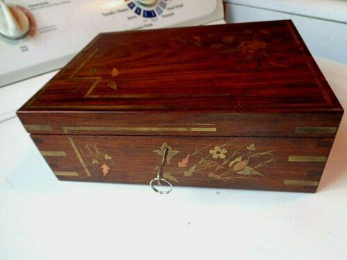 Vintage HandMade Custom Wood Box Inlaid Leaves & Flowers Bars Brass Copper + Key