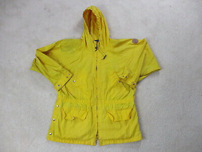 VINTAGE Ralph Lauren Polo Jacket Adult Medium Yellow Hooded Sailing Coat 90s *