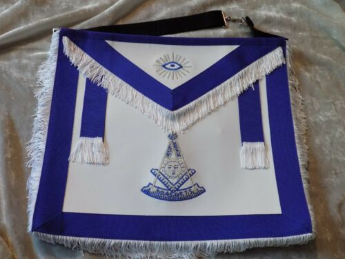 Past Master Apron White Fringe Silver Logo Tassels Blue Satin Pocket NEW!