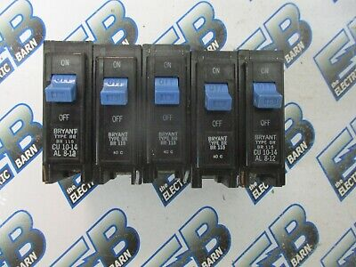 Bryant Br115 Lot Of 5 1 Pole 15 Amp 120 Volt Plug In Circuit Breaker- Warranty