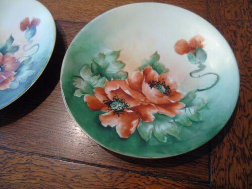"Vintage PL Limoges France Hand Painted Gold Rim 6 1/2"" Poppy Plates Beautiful"