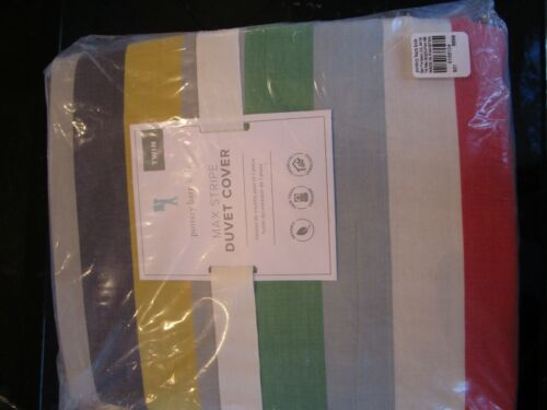 Pottery Barn Kids Organic Max Stripe Duvet Cover twin New with tag