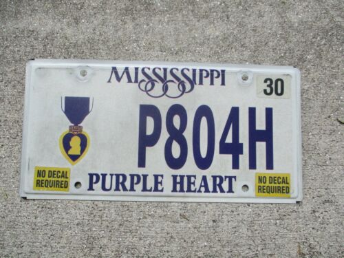 Mississippi Purple Heart license plate  #  804H