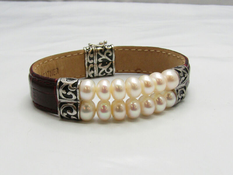 Honora White Pearl Jewelry Bracelet w/ Sterling Silver Findings Red Leather