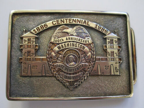 vintage 1886 to 1986 Washington State Penitentiary Centenial Prison belt buckle