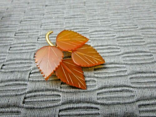 Baltic Amber Brooch 4 Leaves .4RK Tiny chip Perfect for Fall