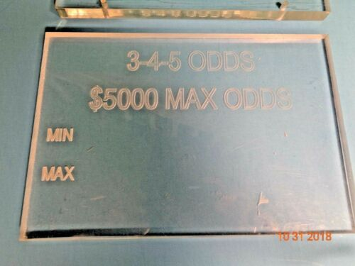 COLLECTIBLE CASINO 3-4-5 ODDS MIN MAX BET ACRYLIC TABLE GAME SIGN ONE (1)