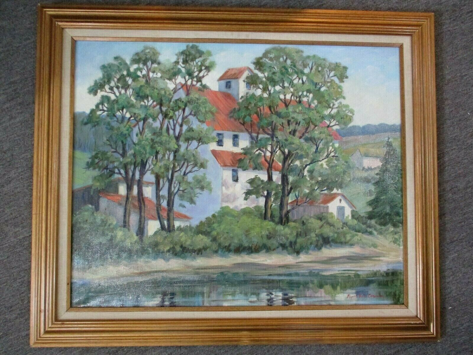"""Old Forge By Myrtle Kerr Conaway Framed Oil Painting 36.5"""" X 30.5"""""""