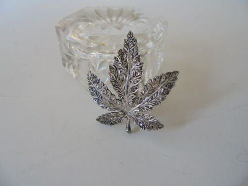 Sterling Silver 935 Vintage Leaf Dress/Fur Clip