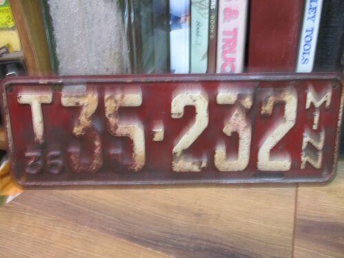 1936 T CLASS TRUCK  MINNESOTA LICENSE PLATE MN  AUTO AUTOMOBILE TAX TAG ORIGINAL