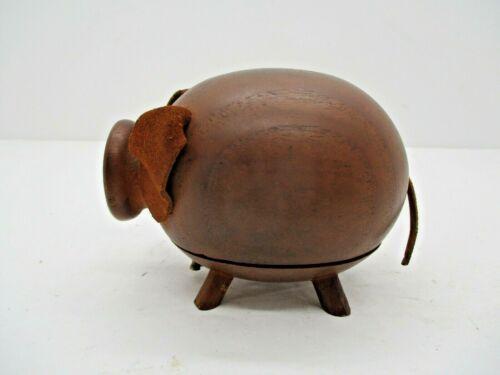 Danish Teak Wood Piggy Bank Signed HF Denmark