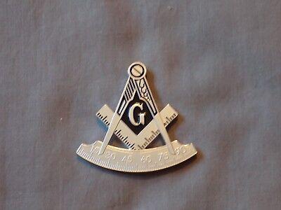 "Masonic 2 1/4"" Car Emblem Past Master Cut Out Square Compass Metal Freemason NEW"