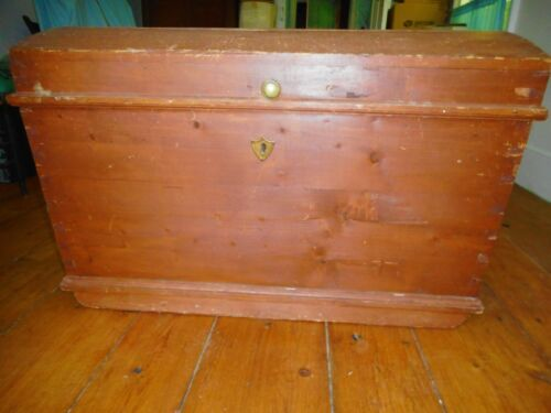 Antique Humpbacked Dove-Tailed Trunk w Brass Fittings & Crafted Hinges
