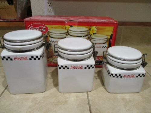 Vintage Coca Cola (3) Canister Set-hinged & sealing Lids w. box-Gibson 2002