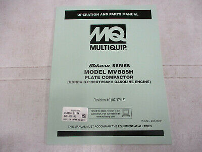 Mq Multiquip Mvb85h Plate Tamper Compactor Parts Manual Operation Honda Engine