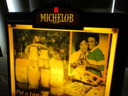 """Rare Vintage Lighted Michelob Beer Black Americana Advertising Bar Sign 19""""x 17"""""""