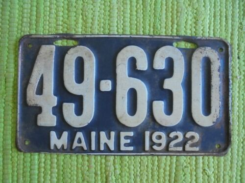 1922 Maine License Plate ME 22 Tag 49-630