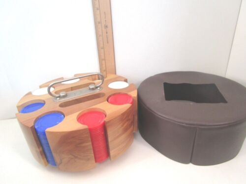 Poker Chip Carousel Caddy w/Leather Cover  Poker Chips -Red White Blue  Vintage