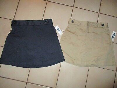 NWT Old Navy Girls Uniform Skorts SKIRT / SHORTS Khaki Tan Navy Blue NEW! - Girls Uniform Navy Blue Shorts