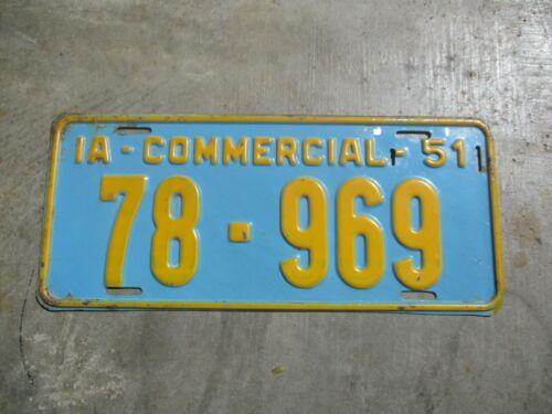Iowa 1951 COMM. license plate #  78 - 969