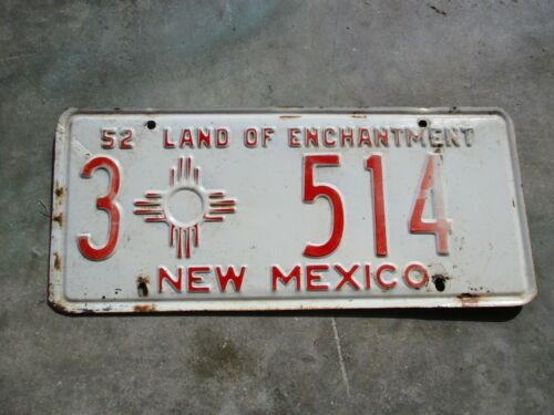 New Mexico 1952 license plate #    3  514