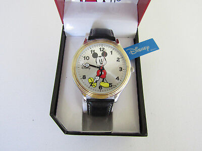 Disney Mickey Mouse Mens Watch With Leather Band And Movable Molded Hands MCK851