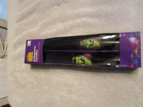 """Vintage Pumpkin Time Halloween Witch Taper Candles 10"""" Set Of 2 New Old Stock"""