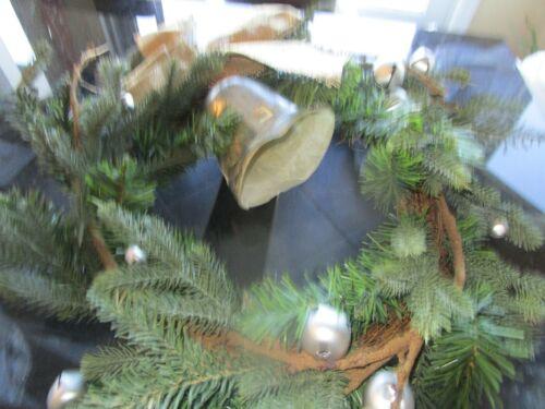 "Pottery Barn Christmas Bell Wreath  22"" New"