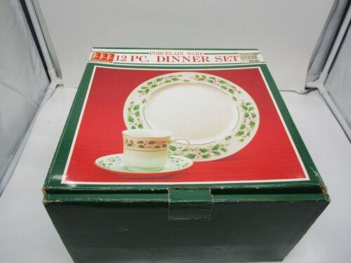 Share the Joy Porcelain Ware 12 Piece Dinner Set Holly Design Christmas