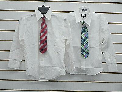 Dress Shirt Boys (Boys Dockers' $30 White Dress Shirt W/T Multi-Color Clip-On-TieSizes)