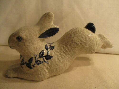 BEAUTIFUL LARGE RABBIT FROM THE POTTING SHED DEDHAM~PALE GREY & BLUE CRACKLE