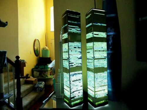 WORLD TRADE CENTER TWIN TOWERS ver 2 MODEL 9/11 lighted lamp translight prints