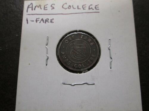 Ames, Iowa State College 1 Fare Interstate Transit Lines Vintage Token Coin