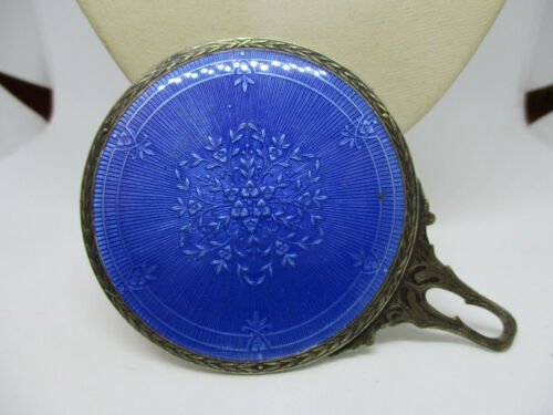 Vintage  Blue Guilloche Enamel Sterling Silver Hand Purse Mirror.