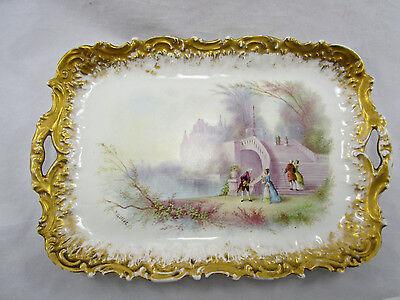 """Vintage Antique Sevres French Hand Painted Porcelain 12 1/2"""" Rectangular Platter"""