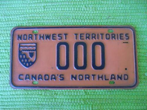 Vintage Northwest Territories SAMPLE License Plate Canada Northland Tag 000
