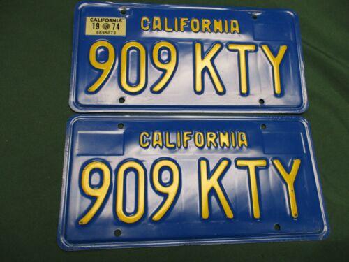 A++ 1974 CALIFORNIA PAIR LICENSE PLATES   909 KTY   KITTY  KATHY