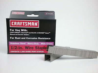 Heavy Duty Wide Crown Staples - Stainless Steel Heavy Duty Wide Crown  1/2