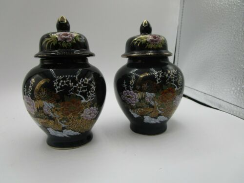 Japan Black Ceramic Ginger Jar w/lid Kutani Style Peafowl Peacock Flowers set(2)