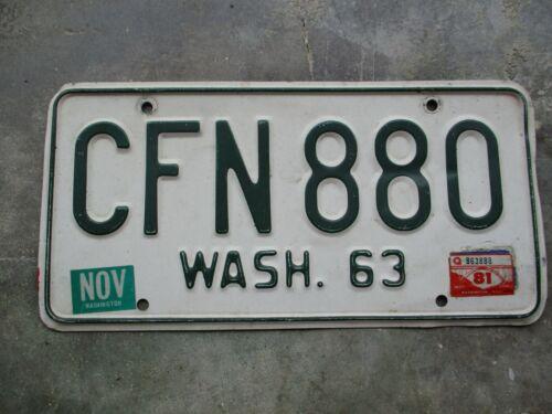 Washington 1963 / 81 license plate  #   CFN 880