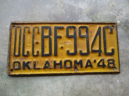 Oklahoma 1948 OCC license plate  #   BF 994C