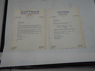 Porsche 356 HOFFMAN MOTORS Letterhead Invoice Vintage original Park Avenue NY