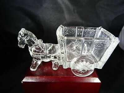 Vintage Victory Glass Jeannette PA Miniature Donkey & Cart Toy Candy Container 5, used for sale  Suffolk