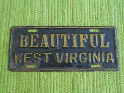 Vintage Beautiful West Virginia LICENSE PLATE TOPPER WV Souvenir Sign