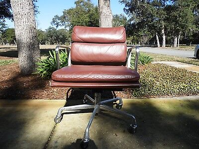 Herman Miller Eames Soft Pad Management Arm Chair Brown Leather  for sale  Fernandina Beach